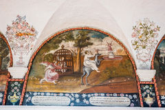 Paintings in Santa Catalina monastery at Arequipa Peru Royalty Free Stock Photo