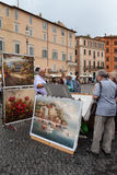 Paintings Seller Royalty Free Stock Images