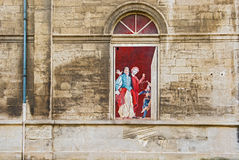 Paintings on the side wall in  Opera Theatre in Avignon Royalty Free Stock Photography