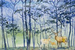 Free Paintings Snow Falls In Forest Winter And Deer Family Royalty Free Stock Photos - 164704228
