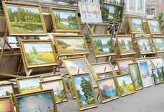 Paintings sold on the street Stock Image