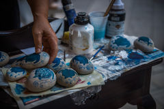 Paintings on stones in Zakynthos, Greece Royalty Free Stock Image