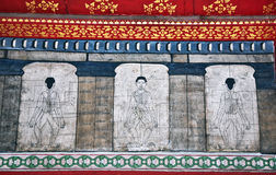 Paintings in temple Wat Pho teach Royalty Free Stock Image