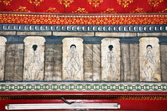Paintings in temple Wat Pho teach. Acupuncture and fareast medicine Stock Images