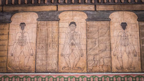 Paintings from temple Wat Pho teach Acupuncture and fareast medicine. Royalty Free Stock Image