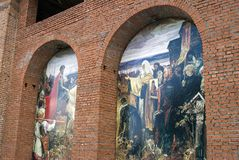 Paintings on the walls. Kremlin in Kolomna, Russia. Stock Photos