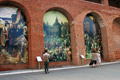 Paintings on the walls. Kremlin in Kolomna, Russia. Royalty Free Stock Photo