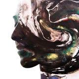 Paintography Διπλό πορτρέτο έκθεσης μιας νεολαίας, φυσικά bea Στοκ Φωτογραφίες