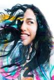 Paintography, портрет радостной молодой этнической женщины совместило w Стоковые Изображения RF