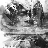 Paintography 与惊人的疑义结合的传神非洲人 库存图片