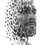 Paintography. Double exposure of an attractive male model combined with hand drawn paintings of repetitive brushstrokes which
