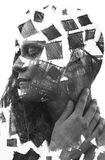 Paintography. Double Exposure charcoal drawing combined with por. Hand drawn squares surround her face, creating an impressive visual effect of her dissolution Stock Photo