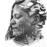 Paintography. Double Exposure charcoal drawing combined with por. Hand drawn texture surrounds and becomes a part of her face, creating an impressive visual Stock Photos