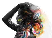 Paintography, photograph combined with art vector illustration