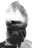 Paintography, portrait combined with painting of a floating boat Royalty Free Stock Images