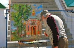 Paintor in Drievuldigheid Sergius Lavra, Sergiev Posad, Rusland Unesco-Wereld Herit Stock Afbeelding