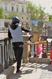 Paintor in Saint-Petersburg city, Russia. Stock Photography