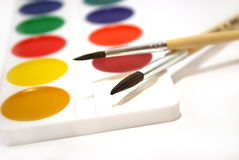 Paints. Multi-coloured water colour paints for drawing Royalty Free Stock Photography