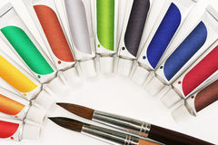 Paints. Acrylic paints and brushes. isolated on a white background Royalty Free Stock Photo