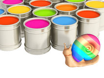 Paints. Multi-coloured paints and happy snail Stock Images