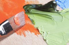 Paints and brush Stock Image