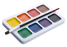 Paints and brush isolated Royalty Free Stock Image