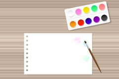 Paints and paper on the wooden table vector illustration