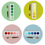 Paints and brush. Set of four simple watercolor and brush vector images divided into a green, blue, red and yellow with shadows on appropriate colored circles Stock Illustration