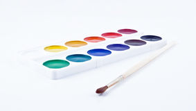 Paints and brushe. On white background Royalty Free Stock Images