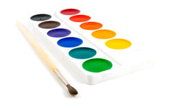 Paints and brushe Stock Image