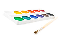 Paints and brushe Stock Photography