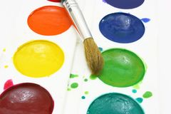 Paints with brushes Royalty Free Stock Images