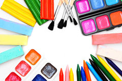 Paints and brushes . Stock Photos