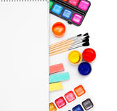 Paints and brushes . Royalty Free Stock Images