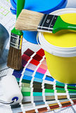 Paints, brushes and accessories for repair Royalty Free Stock Images