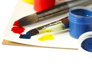 Paints and brushes. Art and craft background. Paints and brushes. Art and craft background, copy space royalty free stock photos