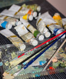 Paints and brushes of artist Royalty Free Stock Image