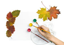 Paints, brushes and autumn leaves Royalty Free Stock Image
