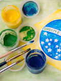 Paints and brushes on the brazil flag watercolor painting Stock Image
