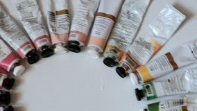 Paints and brushes Brushes and paints of the artist stock video
