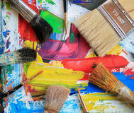 Paints and brushes close-up artist. Stock Image