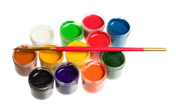Paints and brushes isolated Stock Photography
