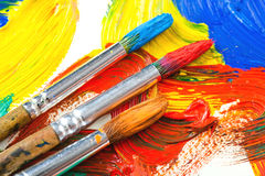Paints and brushes Stock Image