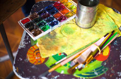 Paints, brushes and other tools Royalty Free Stock Images