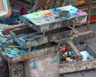 Paints and Brushes of an Outdoor Painter Royalty Free Stock Images