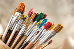 Paints and brushes Royalty Free Stock Photo