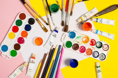Paints brushes pencils royalty free stock image