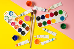 Paints brushes pencils royalty free stock photo