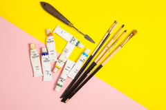 Paints brushes pencils royalty free stock photos