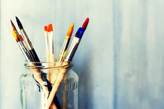 Paints and brushes Royalty Free Stock Photography